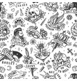 tattoos vintage seamless pattern vector image vector image