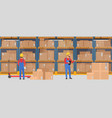 warehouse interior with working people vector image vector image