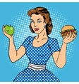 Young woman with apple and burger pop art vector image vector image