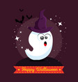 cute ghost happy halloween cartoon vector image