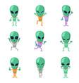 funny cartoon aliens green humanoid vector image