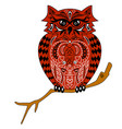 the owl sits on a branch an of an ea vector image