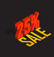 25 percent off sale red isometric object 3d vector image vector image
