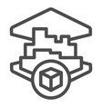 3d printing building line icon 3d house printing vector image vector image
