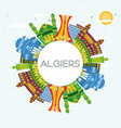 algiers algeria city skyline with color buildings vector image vector image