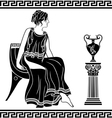 Ancient Greek woman sitting on a chair vector image vector image