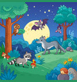 background with animals in the night forest vector image