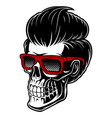 barber skull with fashion hair vector image