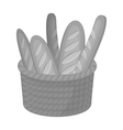 Basket of baguette icon in monochrome style vector image