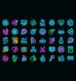 bioengineer icons set neon vector image vector image