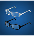 black and white glasses - modern realistic vector image vector image
