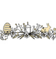 boder for easter with floral wreath with egg bird vector image vector image