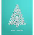 Christmas tree made of paper snowflakes vector image