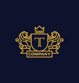 coat arms letter t company vector image vector image