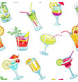 cocktails with straws and slices seamless pattern vector image vector image