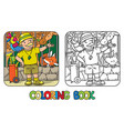 coloring book of funny zoo keeper with parrot vector image vector image