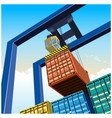 crane and containers vector image vector image