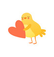 cute bachicken holding big red heart funny vector image vector image