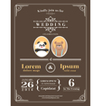 cute vintage wedding invitation design template vector image