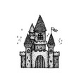 dotwork ancient castle vector image vector image