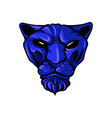 face of a drawn blue tiger vector image vector image
