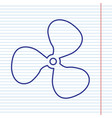 fan sign navy line icon on notebook paper vector image vector image
