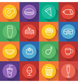 Food and drink line craft icons set in flat design vector image