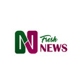 fresh news media letter n icon vector image vector image