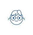 geek emoji line icon concept geek emoji flat vector image vector image