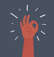 gesture okay human hand vector image vector image