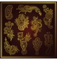 gold line art ornate flower design collection vector image