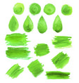 green watercolor blob stains icons vector image