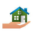 hand with house building icon vector image vector image