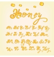 honey alphabet Shiny glazed letters vector image