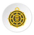 human skull aztec medallion icon circle vector image vector image