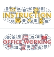 Instruction and Office Working headings titles vector image