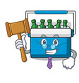 judge freezer bag mascot cartoon vector image vector image