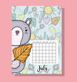 july calendar information with squirrel and vector image vector image