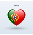 Love Portugal symbol Heart flag icon vector image
