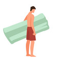 male character with inflatable mattress vector image vector image