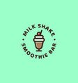 milk shake smoothie bar logo sweet beverages vector image vector image