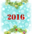 New Year Shiny Background with Wreath and Colorful vector image