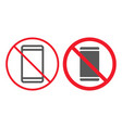 no phone line and glyph icon prohibition vector image vector image
