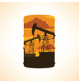 Oil barrel silhouette Double exposure effect vector image
