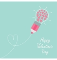 Pencil with light bulb and hearts inside Dash line vector image vector image