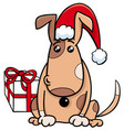 puppy with gift on christmas time vector image vector image