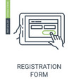 registration form icon with outline style and vector image
