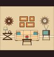 retro room interior linear vector image vector image