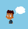 sad african boy with thinking bubble