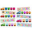 set colorful trains for travel and cargo vector image